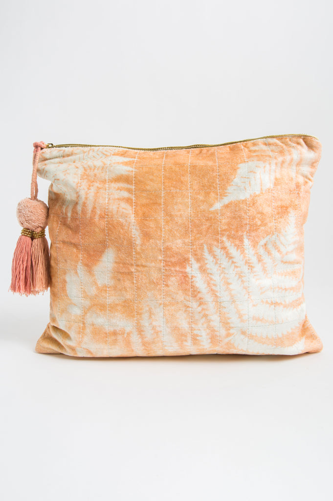 Copper Fern Velvet Oversized Pouch