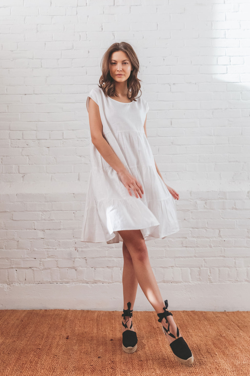 Mila Tiered Dress - Bright White