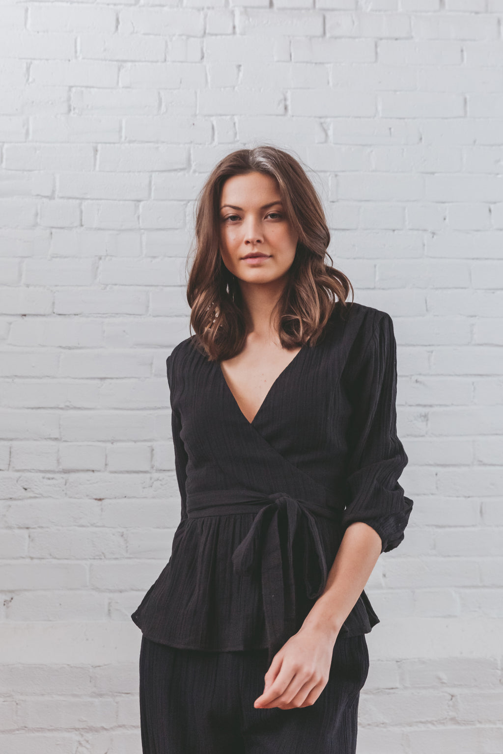 Rhea Wrap Top - Black