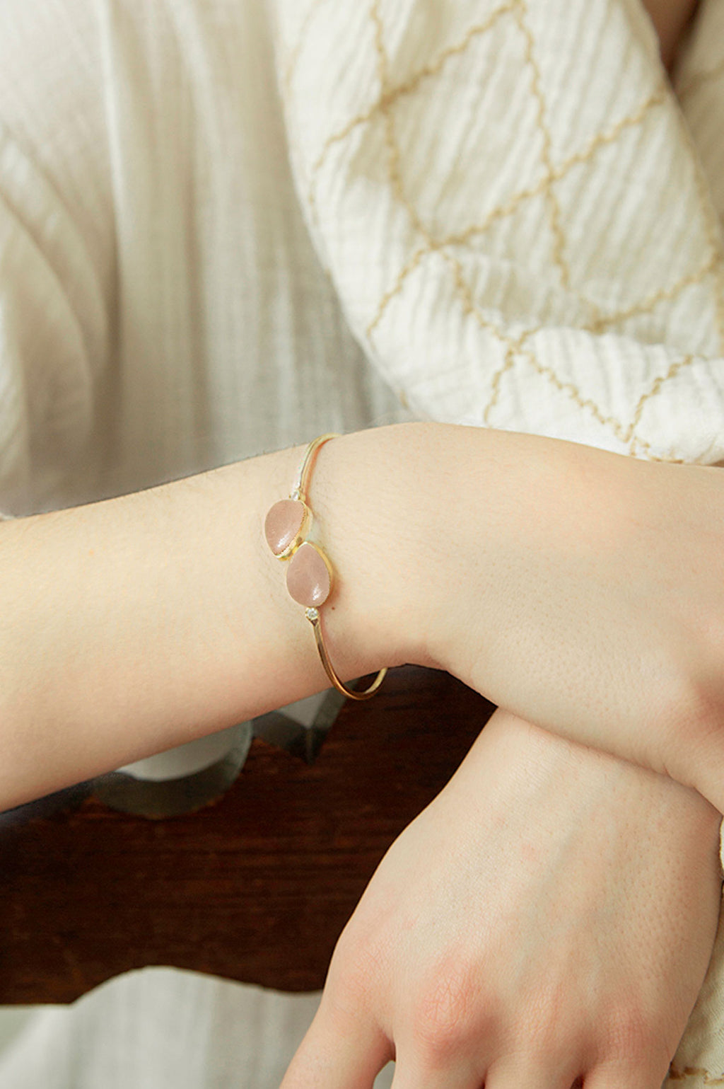 Twin Rose Quartz Cuff