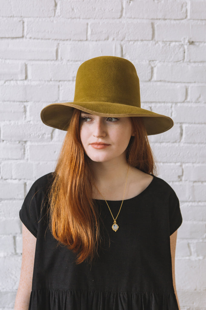 Brookes Boswell Violetto Hat in Brass Velour