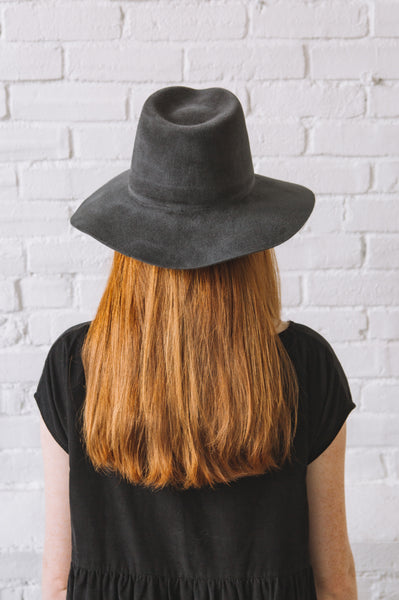 Brookes Boswell Wakefield Hat in Grey Velour