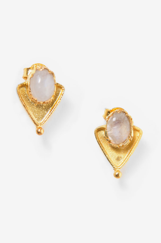 Moonstone Triangle Stud Earrings