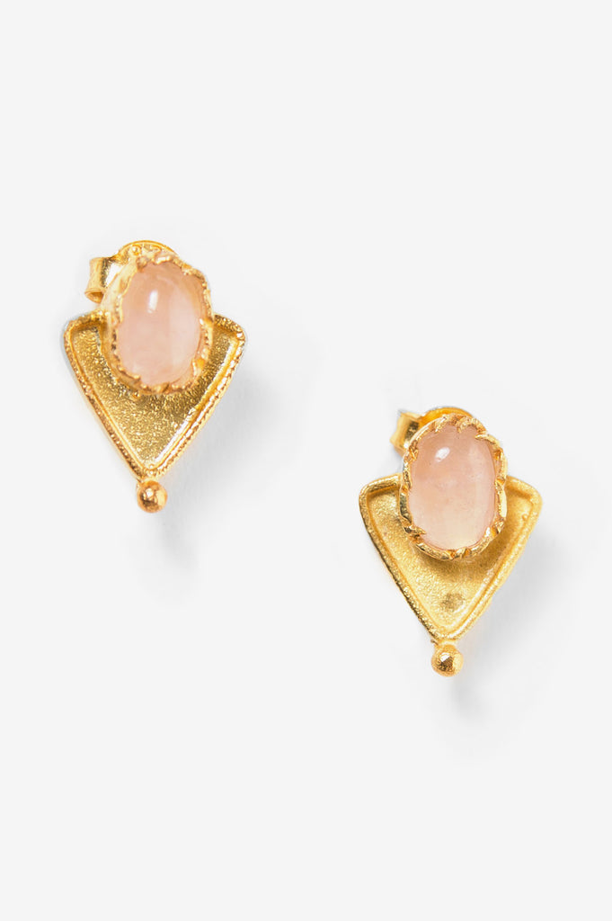 Rose Quartz Triangle Stud Earrings
