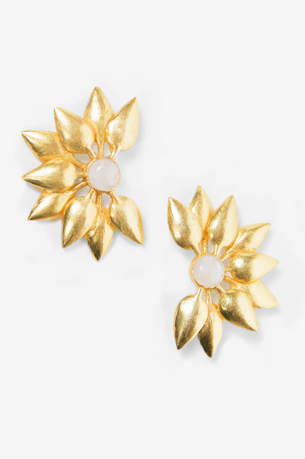 Moonstone Sunburst Stud Earrings