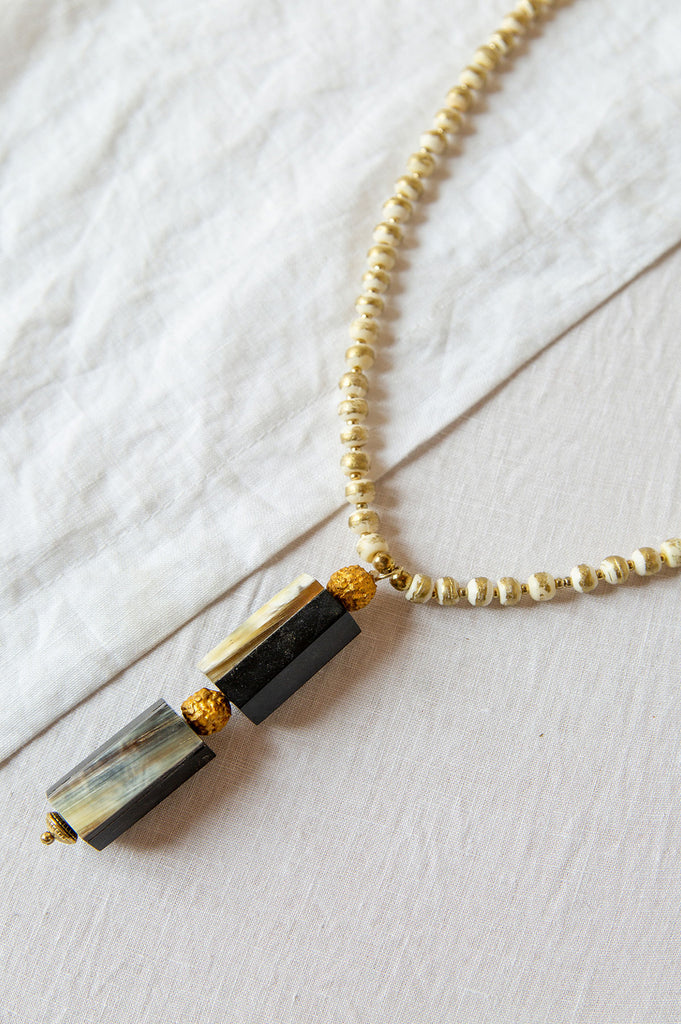 Bone and Gold Foil Bead Necklace