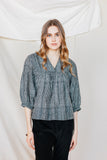 Silk Hester Poet Blouse Ebony Stripe