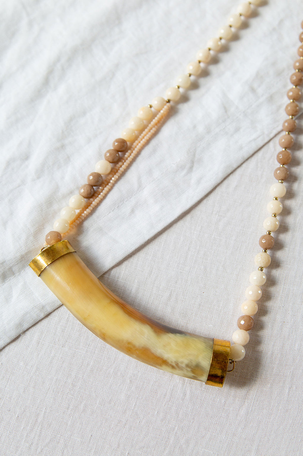 White Horn and Jade Bead Necklace