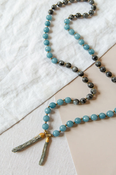 Jade and Dangling Kyanite Bead Necklace