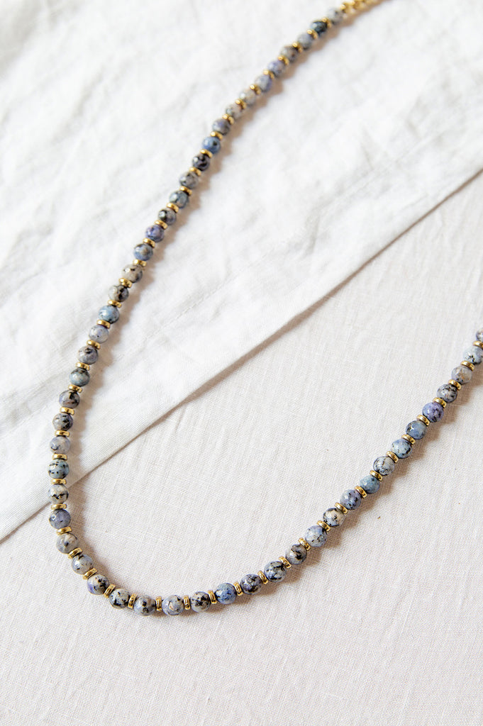 Blue Jade Bead Necklace