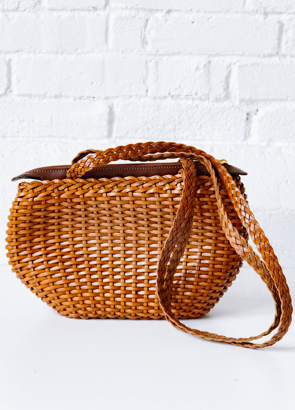 Vintage Woven Brown Leather Basket Style Bag