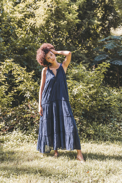 Raven Embroidered Halter Dress - Indigo