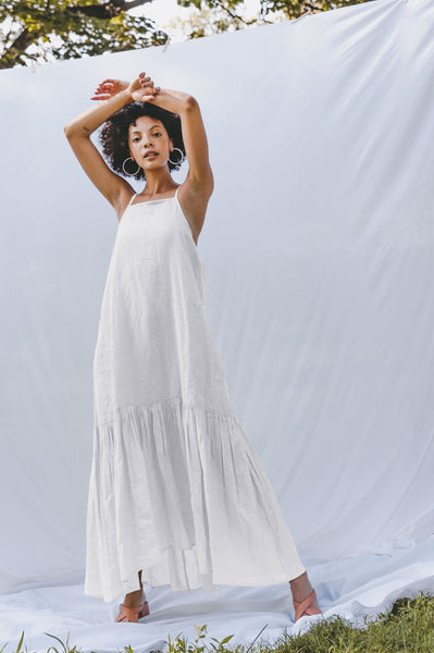 Infinity Flounce Dress - Bright White