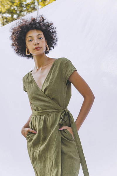 Clementine Wrap Dress - Olive