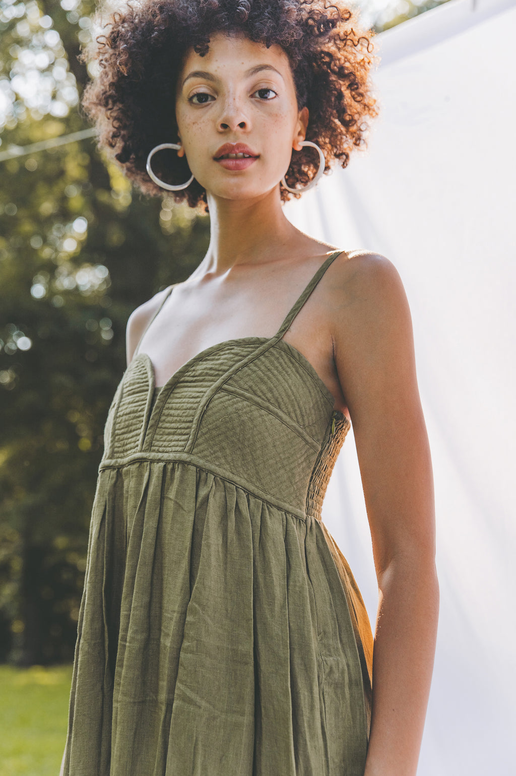 Ruhi Corset Stitched Dress - Olive