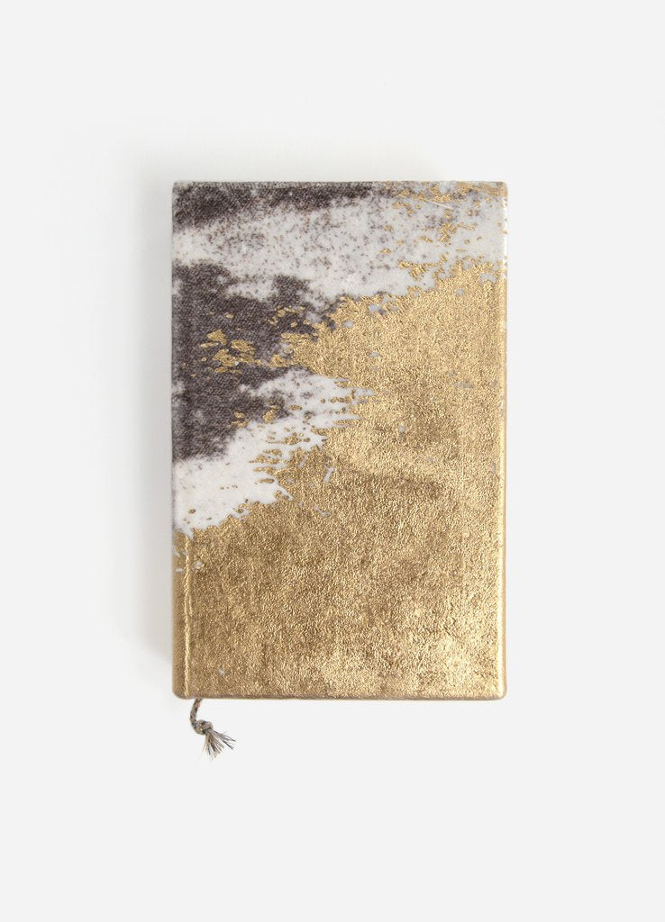 Gilded Shoreline  Small Velvet Journal