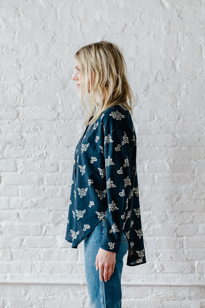 Sabina Button Down - French Navy Floral