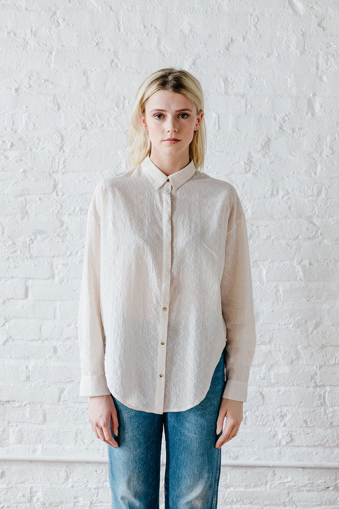 Sabina Button Down - Solid Alabaster