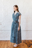 VOLOSHIN MAJA WRAP DRESS DENIM STRIPE SIDE