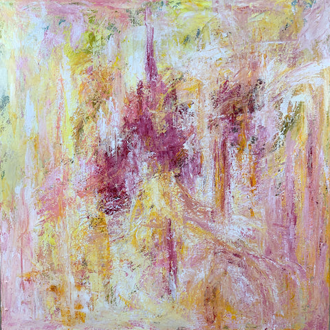 mixed media abstract painting in pinks