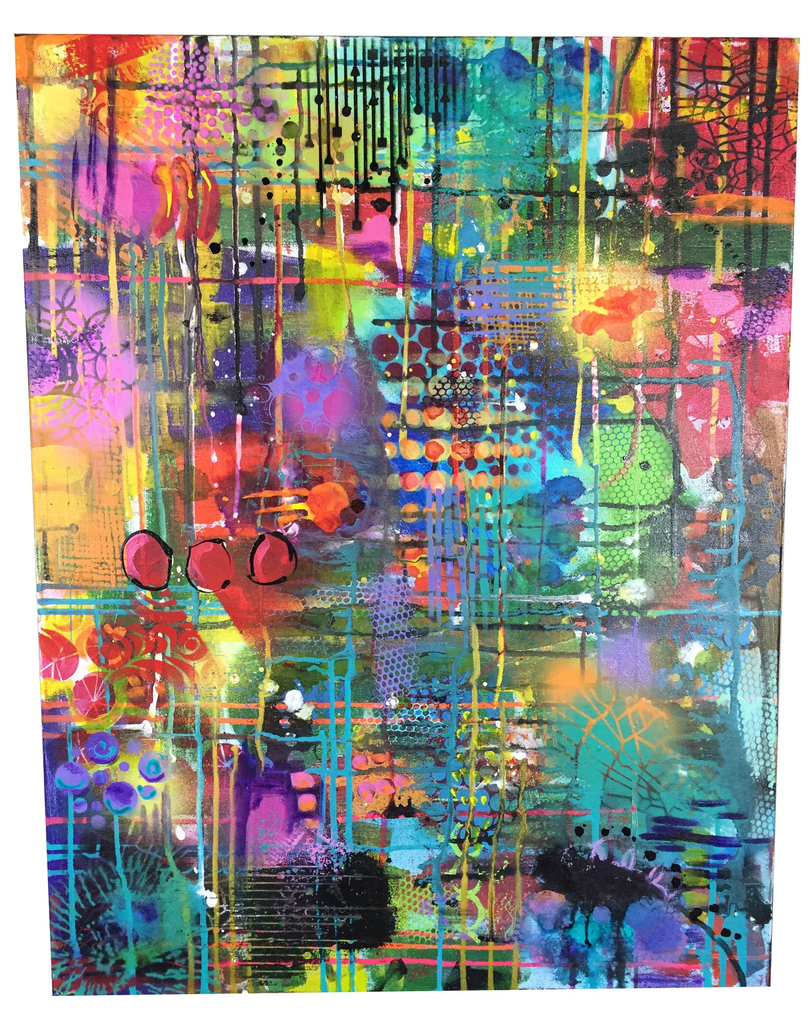 its the circus mixed media abstract painting