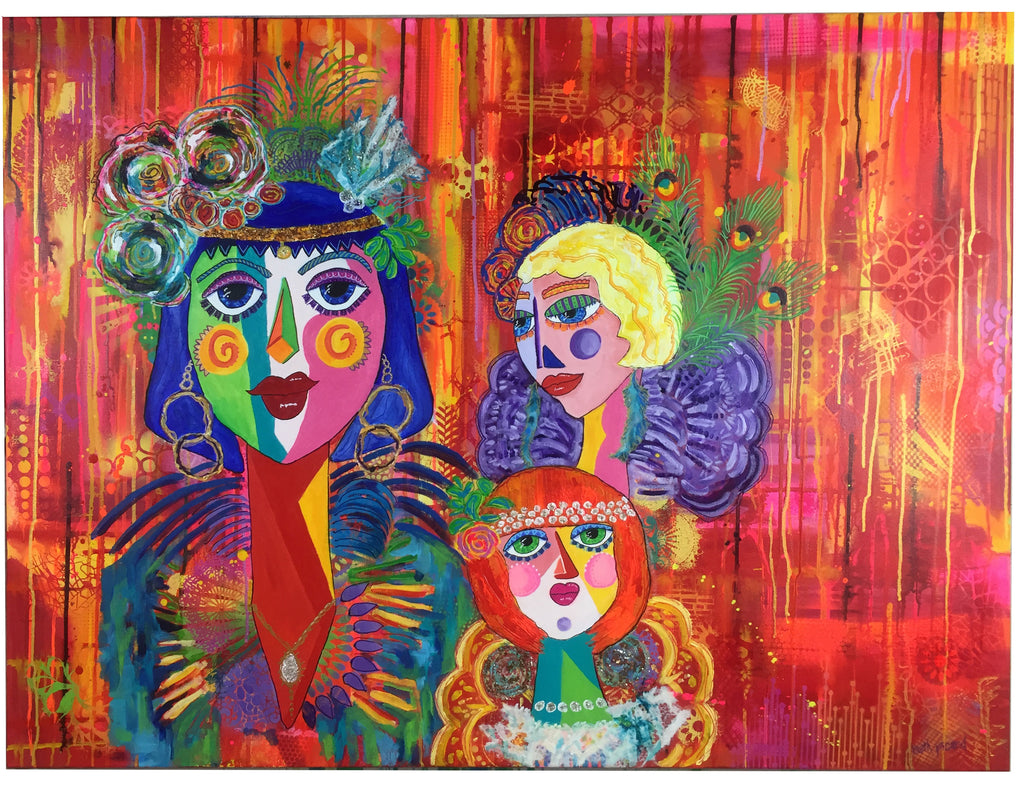 three wild women mixed media painting