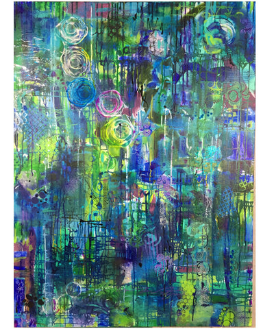 turquoise dreaming mixed media abstract painting