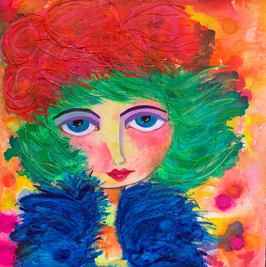 windy wendy mixed media painting