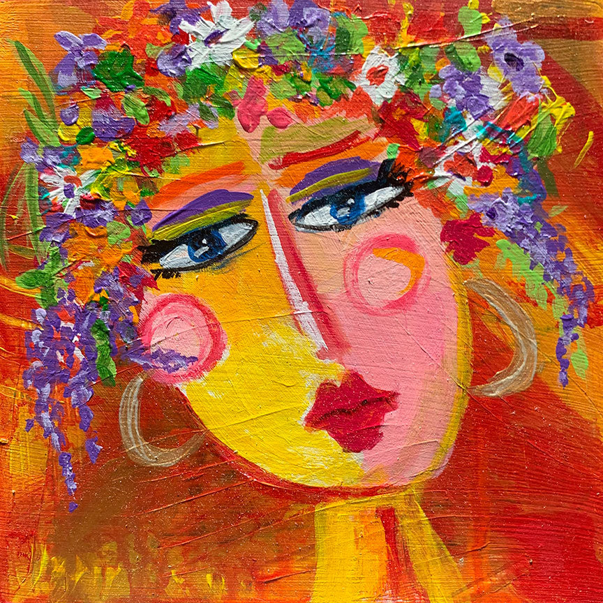 "Flower Girls - Aster  6"" x 6"""