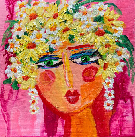 "Flower Girls - Hollyhock  6"" x 6"""
