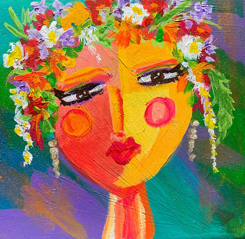 "Flower Girls - Sunflower 6"" x 6"""