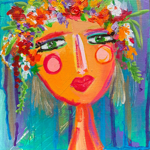 "Flower Girls - Gerbera  6"" x 6"""