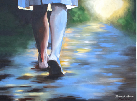 Walking in the Light. Painting by HANNAH AARON STUDIOS