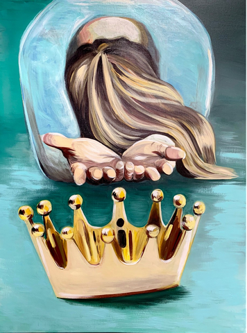 Casting Down the Crown. Painting by HANNAH AARON STUDIOS