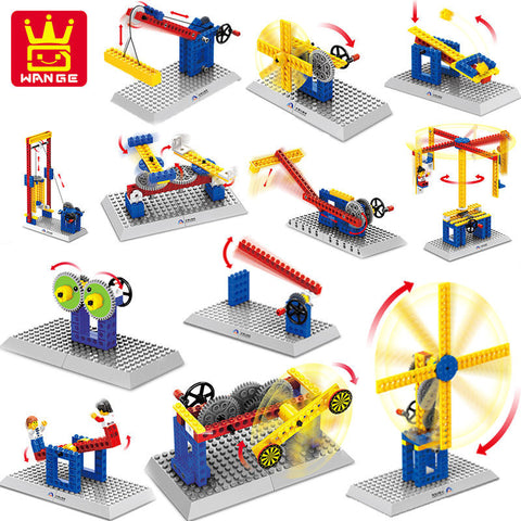 4 Styles Wange Mechanical Engineering Building Blocks Bricks Kids Toys 3 In 1 DIY Model Collection Gift Compatible With Legoe