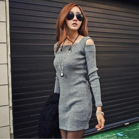 Dress Women Plus Size Sexy Off The Shoulder Long Sleeve Knitwear Bandage Short Mini Dress Vestidos femininos 2017