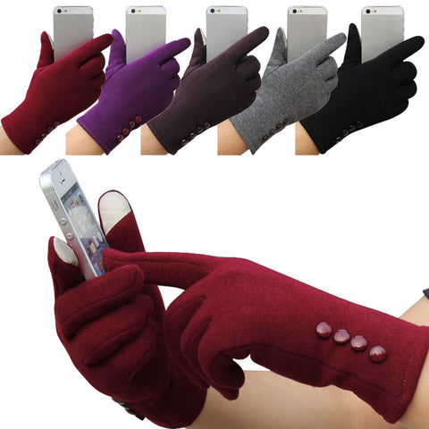 Fashion Womens Winter 4 Buttons Touch Screen Gloves Outdoor Sports Warm Gloves Mittens Mittens Cashmere Free Shipping