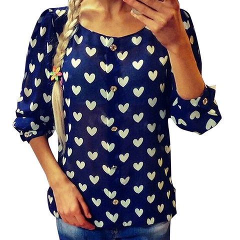 Ladies Chiffon Blouses Tops Fashion Ladies Casual Long Sleeve Shirt Heart Love Print Blouse Loose Shirts blusas femininas