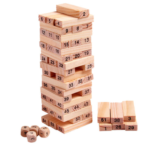 Wood Building Figure Blocks Domino 54pcs Stacker Extract Jenga Game Gift 4pcs Dice Kids Early Educational Wooden Toys Set MZ011