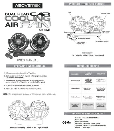 Car Auto Cooling Air Fan