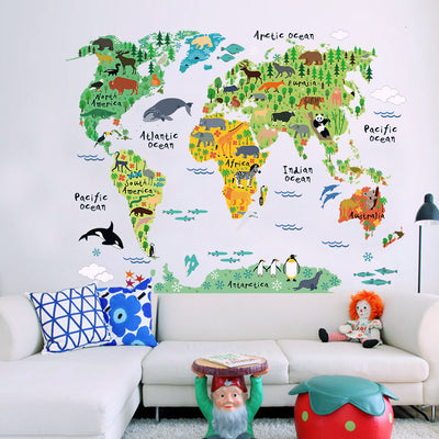 Animal World Map Wall Sticker