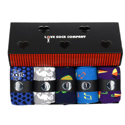Colorful Fun Patterned Organic Cotton Men Socks Funky Town Gift Box (M) - LOVE SOCK COMPANY