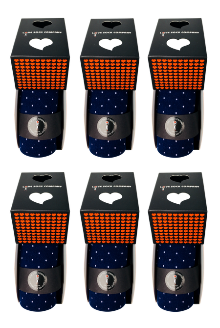 6 Pack groomsmen socks for wedding. Love Sock Company navy blue polka dots men's dress socks. Biz Dots