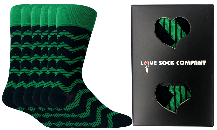 6 pack Groomsmen Socks for Weddings - Individually Gift Boxed - Groomsmen Gifts-Men's Wedding Socks - Zig Zag Navy and Green Striped Dress Socks