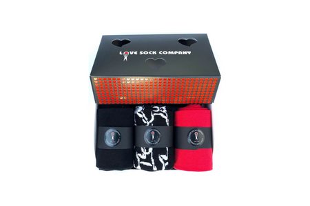 Valentines Day Socks Gift Box | 3 Organic Cotton Men's Dress Socks