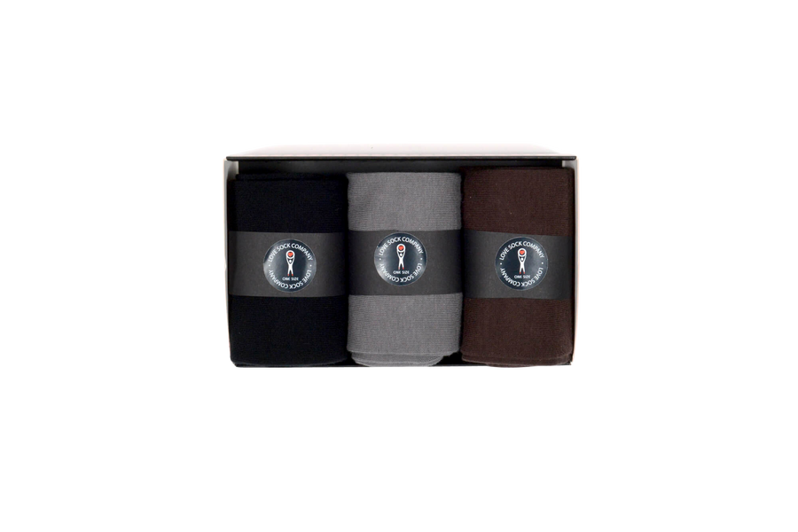 Men's organic cotton solid dress socks gift box set | 3 Essentials Black, Gray, Brown