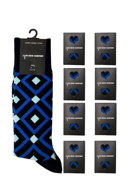 Groomsmen Socks Set - 8 Premium organic cotton blue argyle men's dress socks