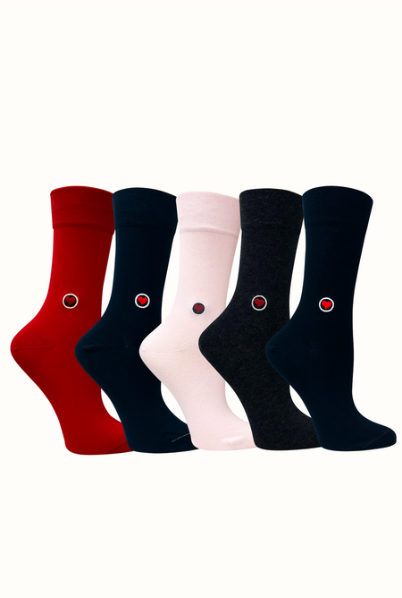 5 Pack bundle of womens solid color organic cotton dress trousers socks with seamless toe - Pink, Black, Navy, Gray, Red
