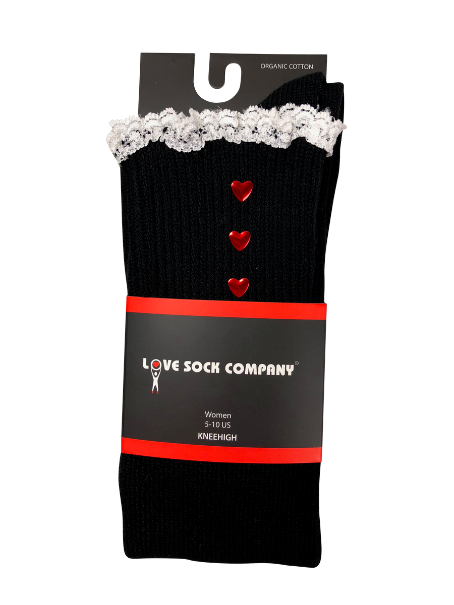 Black Knee High Lace Boot Socks with Hearts and Lace Love Sock Company Christmas Gift Idea Cozy Skirt Socks Dress Socks Women's Accessories