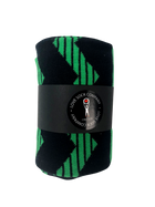 Love Sock Company groomsmen socks with navy blue and green stripes. Individually gift boxed. Zig Zag